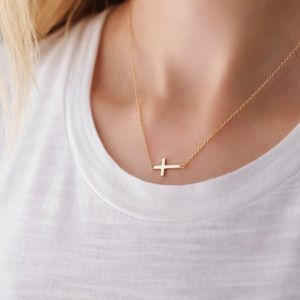 Cross Necklace   14k Gold Plated
